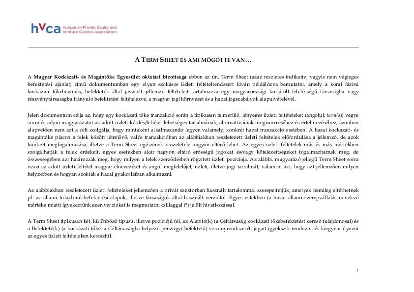 HVCA Term Sheet